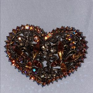 Heart shaped hair clip w butterfly crystals. New.